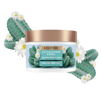 Front of body scrub pack Love Beauty Planet Cactus Flower & Basil Whipped Body Scrub