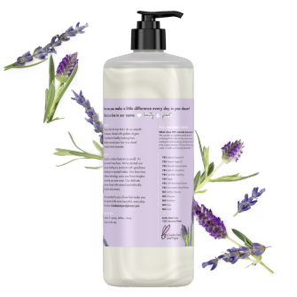 Back of shampoo pack Love Beauty Planet Sulfate Free Argan Oil & Lavender Shampoo Smooth & Serene 32.3oz