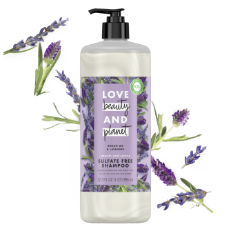 Front of shampoo pack Love Beauty Planet Sulfate Free Argan Oil & Lavender Shampoo Smooth & Serene 32.3oz
