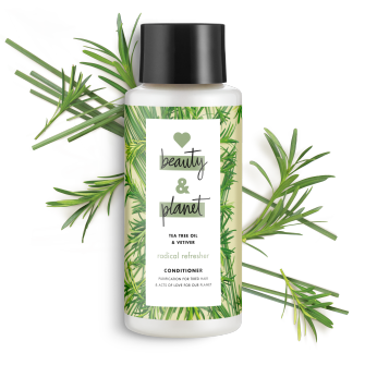 Frente del paquete del Love Beauty Planet Tea Tree Oil & Vetiver Conditioner Radical Refresher 13.5 oz