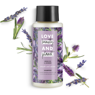Frente del paquete del Love Beauty Planet Argan Oil & Lavender Shampoo Smooth & Serene 13.5 oz