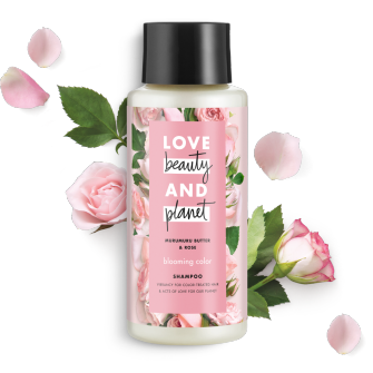 Frente del paquete del Love Beauty Planet Murumuru Butter & Rose Oil Shampoo Blooming Color 13.5 oz
