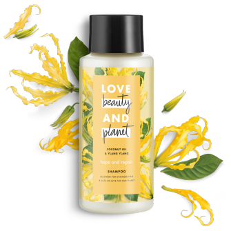 Frente del paquete del Love Beauty Planet Coconut Oil & Ylang Ylang Shampoo Hope and Repair 13.5 oz