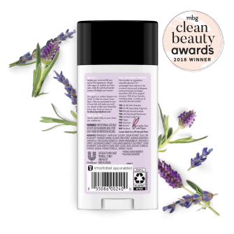 Back of deodorant pack Love Beauty and Planet Clean Beauty Award Argan Oil & Lavender 2.95oz