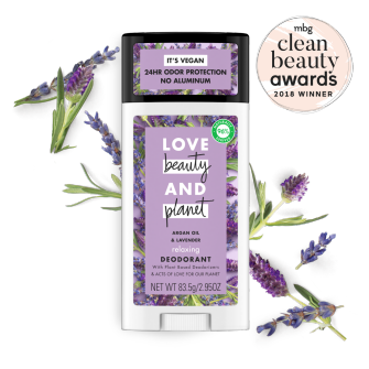 Front of deodorant pack Love Beauty and Planet Clean Beauty Award Argan Oil & Lavender 2.95oz