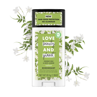 Front of deodorant pack Love Beauty and Planet Coconut Milk & White Jasmine