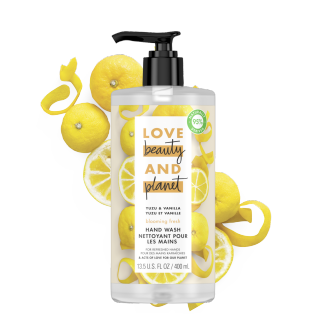 Front of liquid hand wash pack Love Beauty and Planet Yuzu & Vanilla