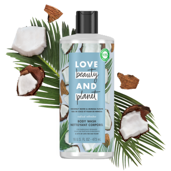 Front of body wash pack Love Beauty Planet Coconut Water & Mimosa Flower Body Wash Radical Refresher 16oz