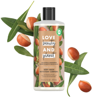 Front of body wash pack Love Beauty Planet Shea Butter & Sandalwood Body Wash Majestic Moisture 16oz