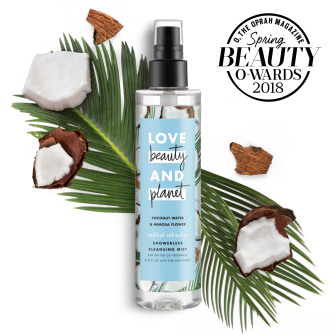 Front of body wash pack Love Beauty Planet Oprah Magazine 2018 Beauty O-ward Coconut Water & Mimosa Flower Showerless Cleansing Mist Radical Refresher 6.7oz