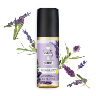 Front of oil pack Love Beauty Planet Lavender & Argan Natural Oils Infusion 4oz