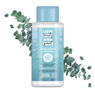Front of shampoo pack Love Beauty Planet Sulfate-free Blue-Green Algae & Eucalyptus Shampoo Marine Moisture 13.5oz