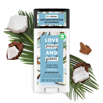 Front of deodorant pack Love Beauty and Planet Coconut Water & Mimosa Flower 2.95oz