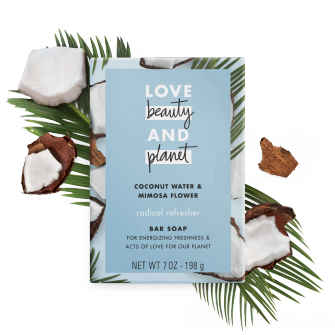 Front of bar soap pack Love Beauty Planet Coconut Water & Mimosa Flower Bar Soap Radical Refresher 7oz