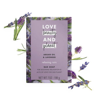 Front of bar soap pack Love Beauty Planet Argan Oil & Lavender Bar Soap Relaxing Rain 7oz