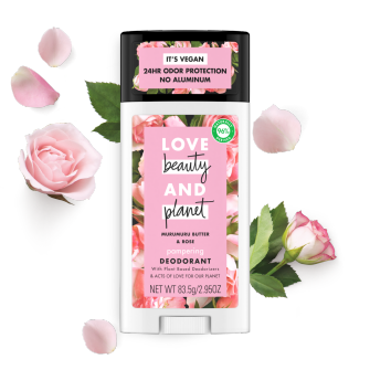 Front of deodorant pack Love Beauty and Planet Muru Muru Butter & Rose 2.95oz