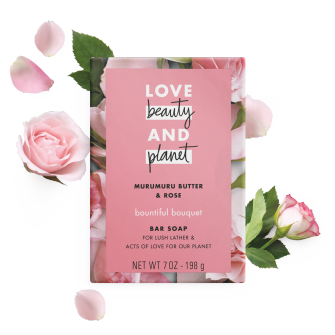 Front of bar soap pack Love Beauty Planet Murumuru Butter & Rose Bar Soap Bountiful Bouquet 7oz