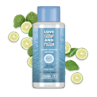 Front of shampoo pack Love Beauty Planet Sulfate-Free Sea Salt & Bergamot Shampoo Deep Detox 13.5oz