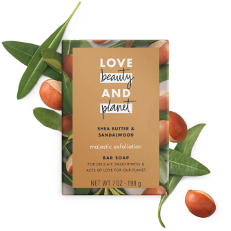 Front of bar soap pack Love Beauty Planet Shea Butter & Sandalwood Bar Soap Majestic Exfoliation 7oz