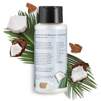 Parte trasera del paquete del Love Beauty Planet Coconut Water & Mimosa Flower Conditioner Volume & Bounty 13.5 oz