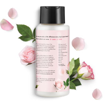 Parte trasera del paquete de acondicionador Love Beauty Planet Murumuru Butter & Rose Oil Conditioner Blooming Color