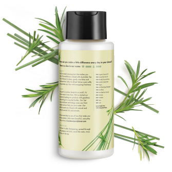 parte trasera del paquete del Love Beauty Planet Tea Tree Oil & Vetiver Conditioner Radical Refresher 13.5 oz