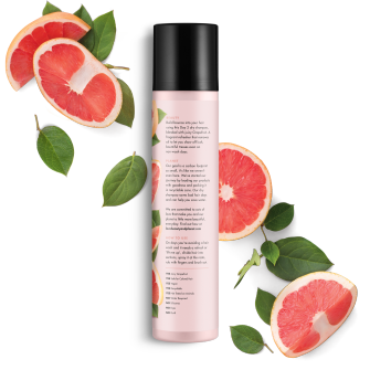 Parte trasera del paquete del shampoo en seco Love Beauty Planet Juicy Grapefruit Dry Shampoo Volume & Bounty 4.3 oz