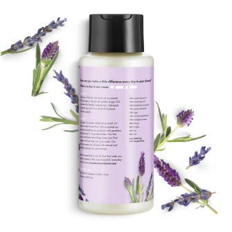 Parte trasera del paquete del Love Beauty Planet Argan Oil & Lavender Shampoo Smooth & Serene 13.5 oz