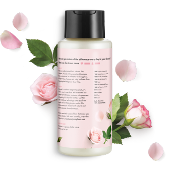 Parte trasera del paquete del Love Beauty Planet Murumuru Butter & Rose Oil Shampoo Blooming Color 13.5 oz
