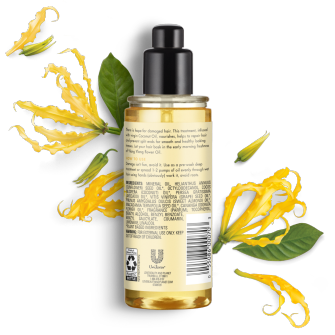 Parte trasera del paquete del aceite para cabello Love Beauty Planet Coconut Oil & Ylang Ylang Hair Oil Hope & Repair 4 oz