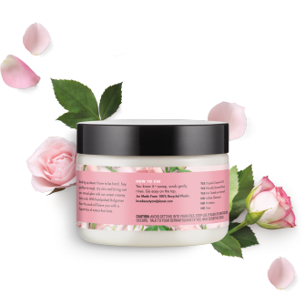 Parte trasera del exfoliante corporal Love Beauty Planet Sugar & Rose Creamy Body Scrub Peace and Glow 9.17 oz