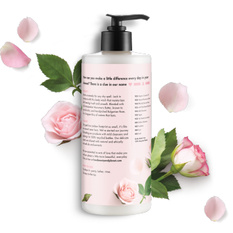 Parte trasera del paquete del gel de baño Love Beauty Planet Murumuru Butter & Rose Body Wash Bountiful Moisutre 16 oz