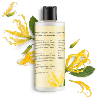Parte trasera del paquete del baño corporal Love Beauty Planet Coconut & Ylang Ylang Body Wash Tropical Hydration 16 oz
