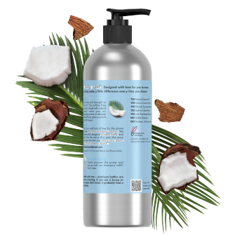 Back of shampoo pack Love Beauty Planet Sulfate Free Coconut Water & Mimosa Flower Shampoo Volume & Bounty 16oz