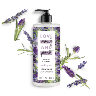 Front of liquid hand wash pack Love Beauty Planet Argan Oil & Lavender Liquid Hand Wash 13.5oz