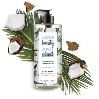 Front of liquid hand wash pack Love Beauty Planet Coconut Water & Mimosa Flower Liquid Hand Wash 13.5oz