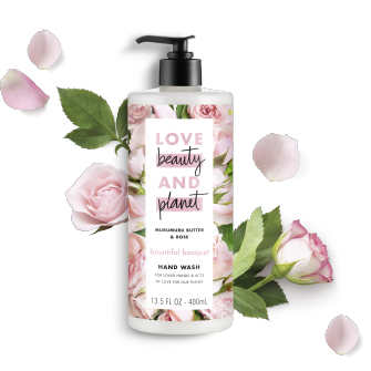 Front of liquid hand wash pack Love Beauty Planet Bountiful Bouquet Murumuru Butter & Rose Liquid Hand Wash 13.5oz