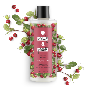 Front of body wash pack Love Beauty Planet Rosehip & Patchouli Body Wash Nurturing Nectar 16oz