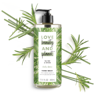 Front of liquid hand wash pack Love Beauty Planet Tea Tree & Vetiver Liquid Hand Wash 13.5oz