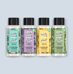 four shampoo bottles