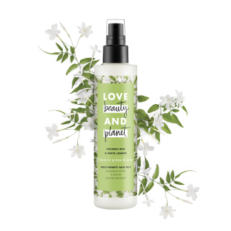 Front of hair milk pack Love Beauty Planet Curls Spray Multi-Benefit Hair Milk Coconut Milk & White Jasmine 6.7oz
