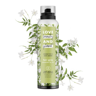 Front of hair spray pack Love Beauty Planet Light Hold & Frizz Control Hair Spray Coconut Milk & White Jasmine 6.8oz