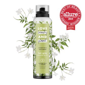 Front of hair spray pack Love Beauty Planet Medium Hold & Volume Hair Spray Coconut Milk & White Jasmine 6.8oz