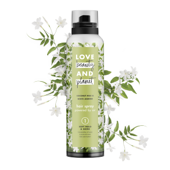 Front of hair spray pack Love Beauty Planet Soft Hold & Shine Hair Spray Coconut Milk & White Jasmine 6.8oz