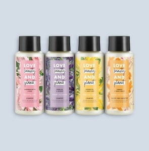 three shampoo bottles