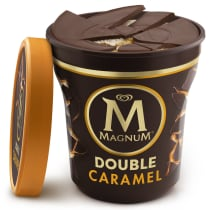 Double Sea Salt Caramel Ice Cream Tub Lid Off