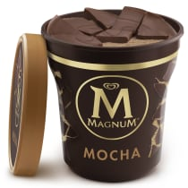 Milk Chocolate Mocha Ice Cream Tub Lid Off
