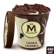 Double Cookie Crumble Ice Cream Tub Lid Off