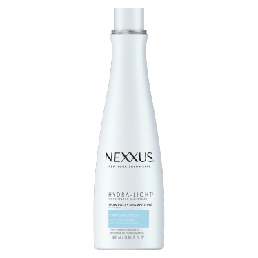 Front of shampoo pack Nexxus hydra-light weightless moisture shampoo for normal to oily hair 400ml