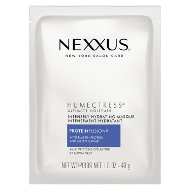 Front of treatment pack Nexxus humectress moisture masque for normal to dry hair 44ml
